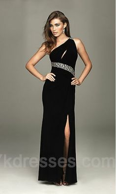 Satin Black Sheath One-Shoulder Prom Dresses ykdress3987