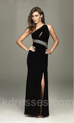 Satin Black Sheath One-Shoulder Prom Dresses ykdress3987