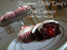 Raspberry Filled Devil's Food Cupcakes with Cream Cheese Icing Recipe!  Delish! #SpringIntoSavings