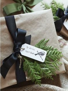 Love the simple brown paper and black ribbon! Garden, Home and Party: Gift Wrap Ideas
