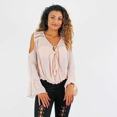 PinkCad2 Pale Pink Lace Up Tassel Tie Front Crochet Cold Shoulder Wrap Top