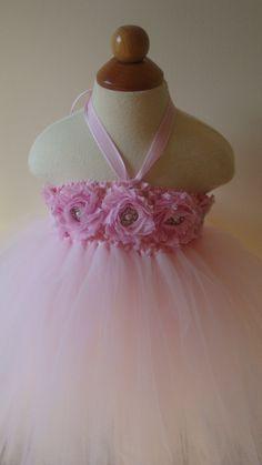 Flower girl dress light pink tutu dress by Theprincessandthebou, $68.00