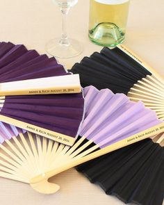 Keep your ceremony elegant and cool at the same with these personalized silk hand fans. Each fan is printed with your custom message and looks beautiful when fanned out during an outdoor ceremony. Invite guests to use during the ceremony as well as to keep and bring home each as a favor.