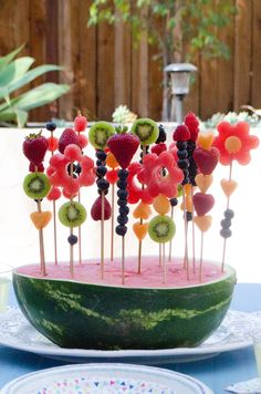 Watermelon Garden Centerpiece from ChefSarahElizabeth.com