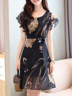 Black Chiffon Frill Sleeve Print Dress with Belt Simple Dresses, Pretty Dresses, Beautiful Dresses, Casual Dresses, Short Dresses, Summer Dresses, Summer Clothes, Chiffon Dress, Dress Skirt