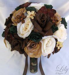 camo bouquet | 17pcs Wedding Bridal Bouquet Silk Flower Camo Camouflage Bride IVORY ...