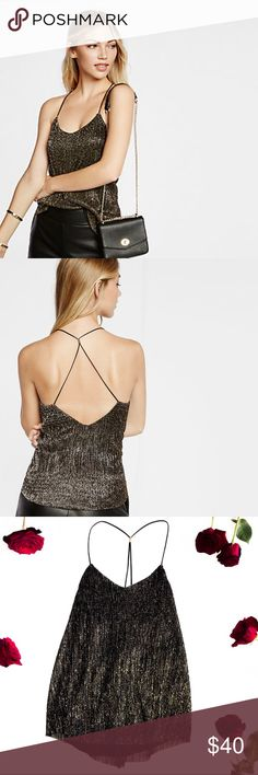 Express •Crinkle Foil Racerback Cami• ✨ Show a little skin or add a little flair with this Express foiled cami. Make your presence known at your next soiree with this top rich with the rippling beauty of foil accents.   * Brand New * Just tried on * Smoke free home * Slight v neck; Spaghetti straps,  *Plunging racerback with gold embellishment * Textured; Lined * Straight hem * Acrylic/Nylon/Polyester * Sold out everywhere   Photos are of actual product Price is Firm  But make me a offer…