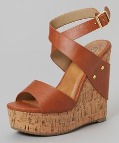 Look at this Tan Twist Wedge Sandal on #zulily today!