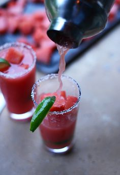 Celebrate the summer sun with these amazingly refreshing Watermelon Lime Margaritas! Share these delicious drinks with your friends at your next gathering. Town House Tip: Don't forget to salt the rim for an extra kick.