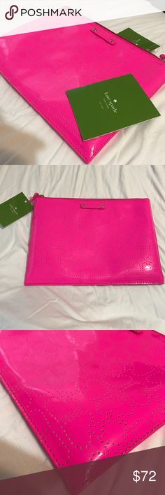 ♠️ NWT Kate Spade Hot Pink Clutch ♠️ ♠️ Bought and never used.  ♠️ So beautiful and cute.  ♠️2 slots for pens-cards-phone inside the clutch.  ♠️With tags and care card.  ♠️Measures: 10in L x 8in H x 4in W Paid $78 plus tax .  MAKE ME AN OFFER kate spade Bags Clutches & Wristlets