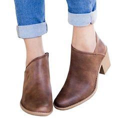 the best attitude 0fdaf 7f06a FISACE Women s Round Closed Toe Western Inside Zipper Stacked Low Heel  Ankle Booties Skor, Kläder