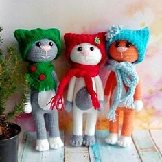 Funny crochet cats in hats - printable PDF