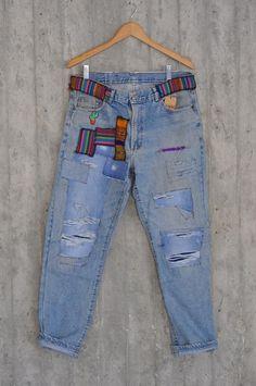 Jeans Levi's, Patched Jeans, Jeans Button, Levis Vintage, Jean Vintage, Grunge Jeans, Hipster Jeans, Levi 501s, Jeans Boyfriend