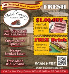 Fresh steaks, roasts, ground beef, pork, sausage and more at Dutch Country Meats & Deli. Cream Cheese Spreads, Party Trays, Strip Steak, Fresh Meat, Meat And Cheese, Pork Roast, Deli, Ground Beef, Dutch