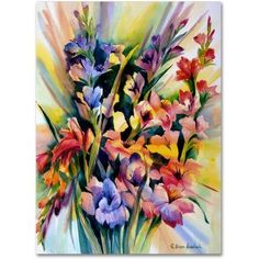 Trademark Fine Art Glad Bursts Canvas Art by Rita Auerbach, Size: 35 x 47, Multicolor