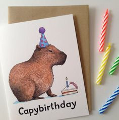 Capybirthday Happy Birthday Capybara Card by PaperWildernessShop