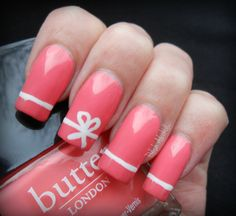 Ribbon nail art: two colors colours design: pink base and white ribbon stripe line design #spring #summer