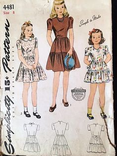 Vintage 1940s Girls Dress Pattern Simplicity Sewing Pattern