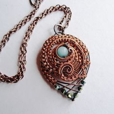 Roundabout Copper Wire Wrapped Woven Pendant by sparkflight