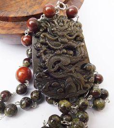 Golden obsidian pendant lucky dragon dragon pendant carved