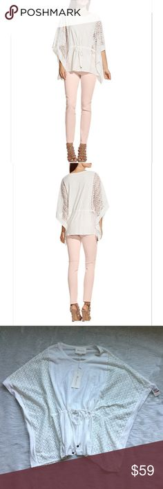NWT Two by Vince Camuto Slub Lace Trim Poncho Top Slub poncho by Two By Vince Camuto in New Ivory.  Gorgeous lace detailing.  Drawstring at waist.  100% cotton, Lace: 100% polyester.  Size XS/S. Two by Vince Camuto Tops