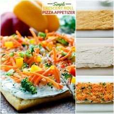 This Simple Crescent Roll Pizza Appetizer recipe is easy to make and always a hit at parties! You can even serve this veggie pizza recipe for dinner! Pizza Appetizers, Appetizer Salads, Appetizer Recipes, Dinner Recipes, Crescent Roll Veggie Pizza, Crescent Rolls, Veggie Soup, Veggie Tray, Deep Dish Pizza Recipe