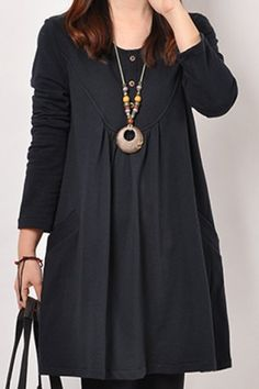 Casual Scoop Neck Long Sleeves Solid Color Single Breasted Dress For WomenCasual Dresses   RoseGal.com