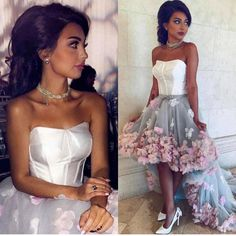 High Low Prom Dresses Strapless With Flower Arabic Evening Gowns