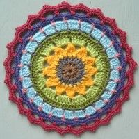 Crochet Mandala Wheel made by June, Bristol, UK, for yarndale.co.uk