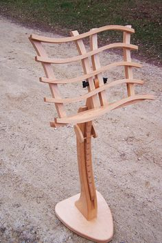 "Wooden Music Stand In Solid Cherry--""the Swan"""
