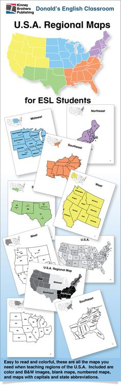 U.S.A. Regional Maps gives your ESL students a clear understanding of U.S. regional states, their capitals, and state abbreviations. These easy-to-read maps will help you challenge students and make map reading a pleasure! $4.50 on TpT #ESL #EFL #ELL