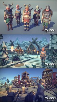 A low poly asset pack of characters, buildings, props, items and environment assets to create a fantasy based polygonal style game. Modular sections are easy to piece together in a variety of combinations. Unity 3D game Asset.