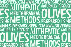Silver & Green / Restaurant /  authentic Mediterranean delicacies / Design by Dorset-based Salad / food / logo / branding / identity / playful and modern / Customized typography forms the main logo and the various applied textures combine with the supporting handwritten font to further enhance it's personality / bold colors / pattern