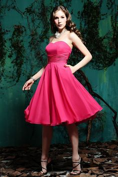 Endearing Fuchsia Strapless Sweetheart Pleated Empire Waist A-line Bridesmaid Dress - Bridesmaid Dresses - Wedding Party Dresses