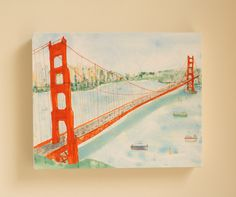 GOLDEN GATE BRIDGE San Francisco City Skyline Canvas Print Mixed Media Painting Travel Art Print California Drawing 8 x 10 Clare Caulfield