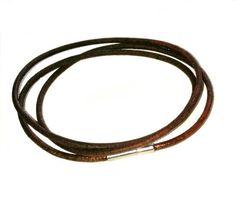 Vintage brown Pandora-style leather wrap charm bracelet