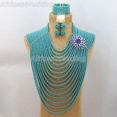 Blue African Nigerian Wedding Crystal Beads Necklace Set,Nigerian African Crystal Beaded Jewelry Necklace Set,Beads Necklace.$101.9