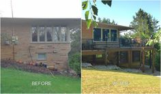 Before and after of a Trex Deck