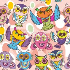 Seamless pattern sketch Owls on a pink background. vector Royalty Free Stock Vector Art Illustration