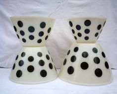 Black dot Fire King Mixing Bowls by maggieorileys on Etsy