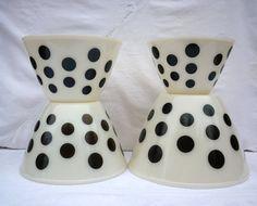 Fire King Black Dot Nesting Mixing Bowls