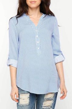 c58118a895 Striped shirt with mandarin collar, button closure, and roll tab sleeves.  Woven. Shoptiques
