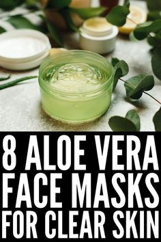 4 DIY Aloe Vera Face Masks For a Clear Complexion | If you're looking for skin care recommendations for healthy, glowing skin, aloe vera is about to become your new BFF. It's anti-inflammatory, making it a great natural remedy for sunburns, acne, skin irritation and inflammation, and it can help get rid of wrinkles and slow signs of ageing. We're sharing 4 easy homemade aloe vera face mask recipe ideas for dry skin, for oily skin, for acne, and more! Natural Remedies For Sunburn, Sunburn Remedies, Aloe Vera Uses, Natural Aloe Vera, Aloe Vera Face Mask, Face Wrinkles, Coconut Oil For Skin, Love Your Skin