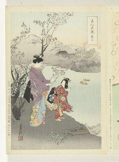 Titel(s)  Bewonderen van de pruimenbloesem  Vergelijkingen tussen schoonheden en bloemen (serietitel)  Bijin hana kurabe (Japanse serietitel op object)  Vervaardiger  naar ontwerp van: Ogata Gekko  (Tokyo 1859 - 1920) (vermeld op object)  plaats vervaardiging: Japan  prentmaker: anoniem  plaats vervaardiging: Japan  uitgever: Takekawa Risaburo (vermeld op object)  plaats vervaardiging: Japan  Datering  1887 - 1896