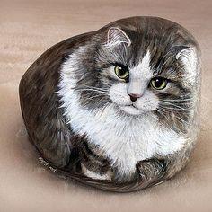 Pedra pintura de gato lembrancinha perfeita para adoradores de gato