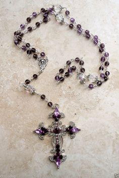 GENUINE SWAROVSKI AMETHYST CRYSTAL SILVER HOLY MOTHER ROSARY W/CRYSTAL CROSS #islandgirljewelrydesign