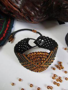 Black Wristband Bracelet with Glass Beads Macrame Handmade. $32,00, via Etsy.