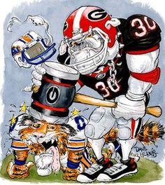 "Georgia Bulldogs Football Dave Helwig 2007 ""Blacked Out"" artwork UGA Dawgs Georgia Bulldogs Football, Sec Football, College Football, Football Rules, Football Art, Alabama Football, Sick, Football Images, Georgia Girls"