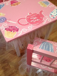 Childrens Princess Tea Party Table Chair Set Tulle Pink Custome Girls Kids Cupcake Birthday Ribbon. $225.00, via Etsy.