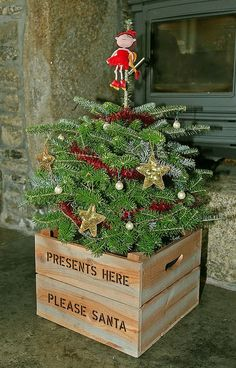 Christmas tree planter decor, Christmas tree Plant with doll #Christmas #tree #planter #decor www.loveitsomuch.com
